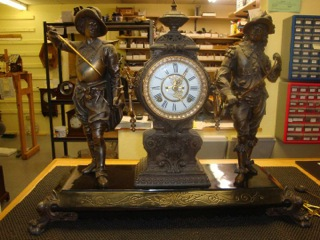 Stunning Bronze Ansonia Statue Clock